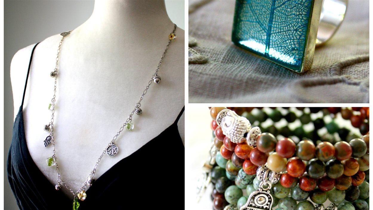 Un collier, une bague et des bracelets confectionnés par Sonia Zalesack