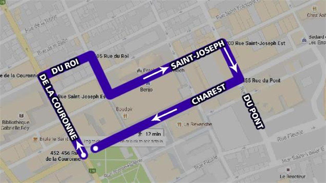 Itinéraire de la marche de mercredi soir