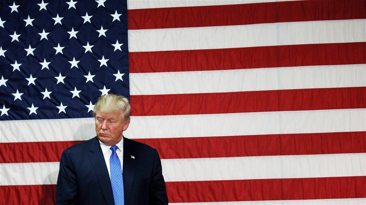 Donald Trump lors d'un discours à Sandown, au New Hampshire.