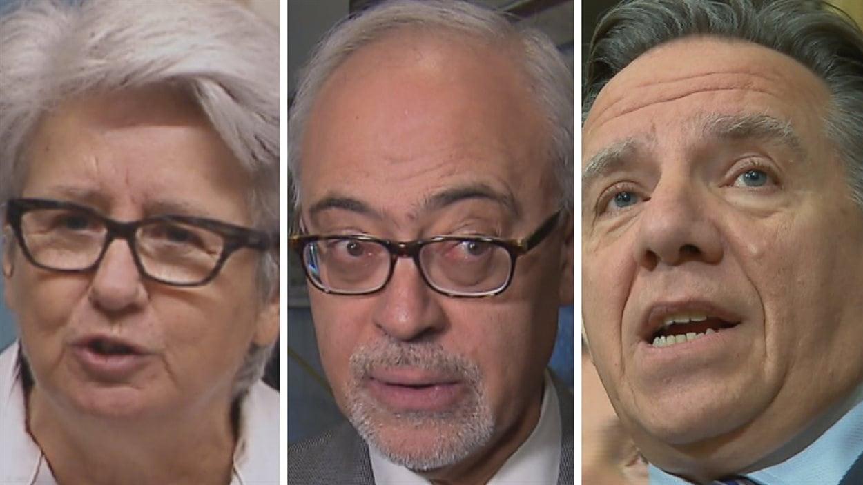 Agnès Maltais, députée du Parti québécois, Carlos Leitao, ministre au gouvernement libéral, et François Legault, chef de la Coalition avenir Québec