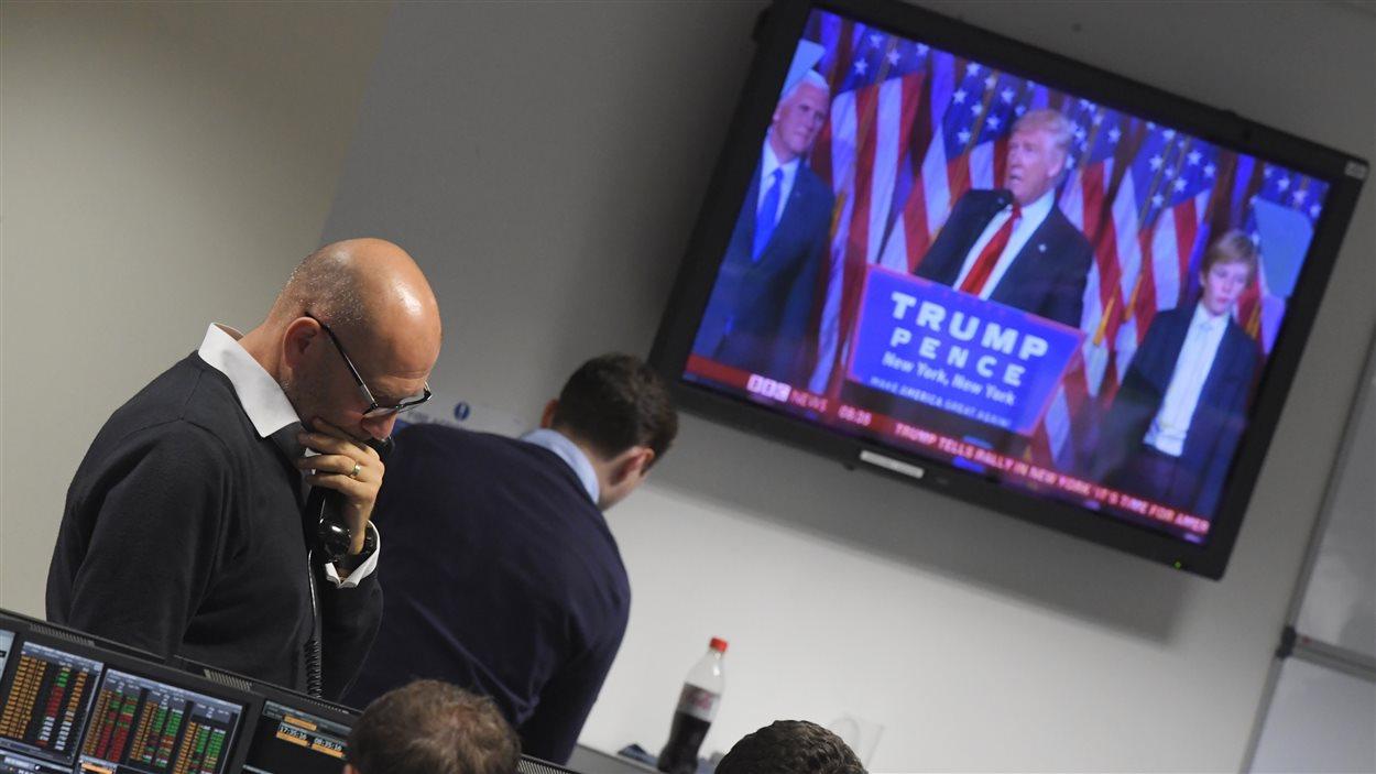 Un opérateur de marché le soir de la victoire de Donald Trump