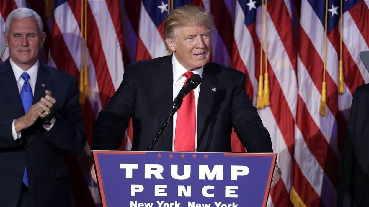 Le président désigné, Donald Trump, lors de son discours de victoire à New York, le 9 novembre