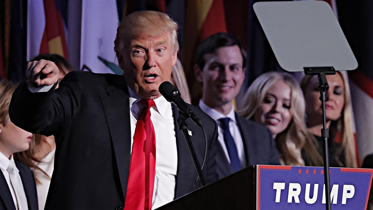 Donald Trump pendant son discours de vict