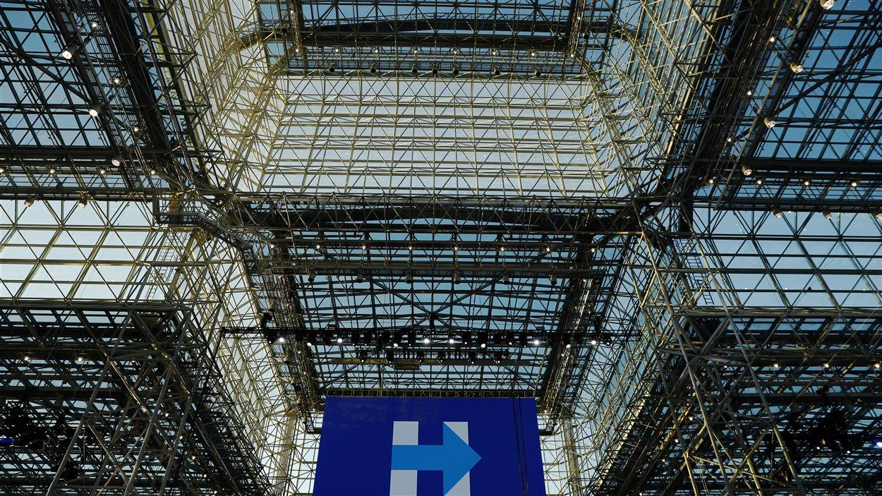 Le plafond de verre du Jacob K. Javits Convention Center, où Hillary Clinton, pensait célébrer sa victoire.