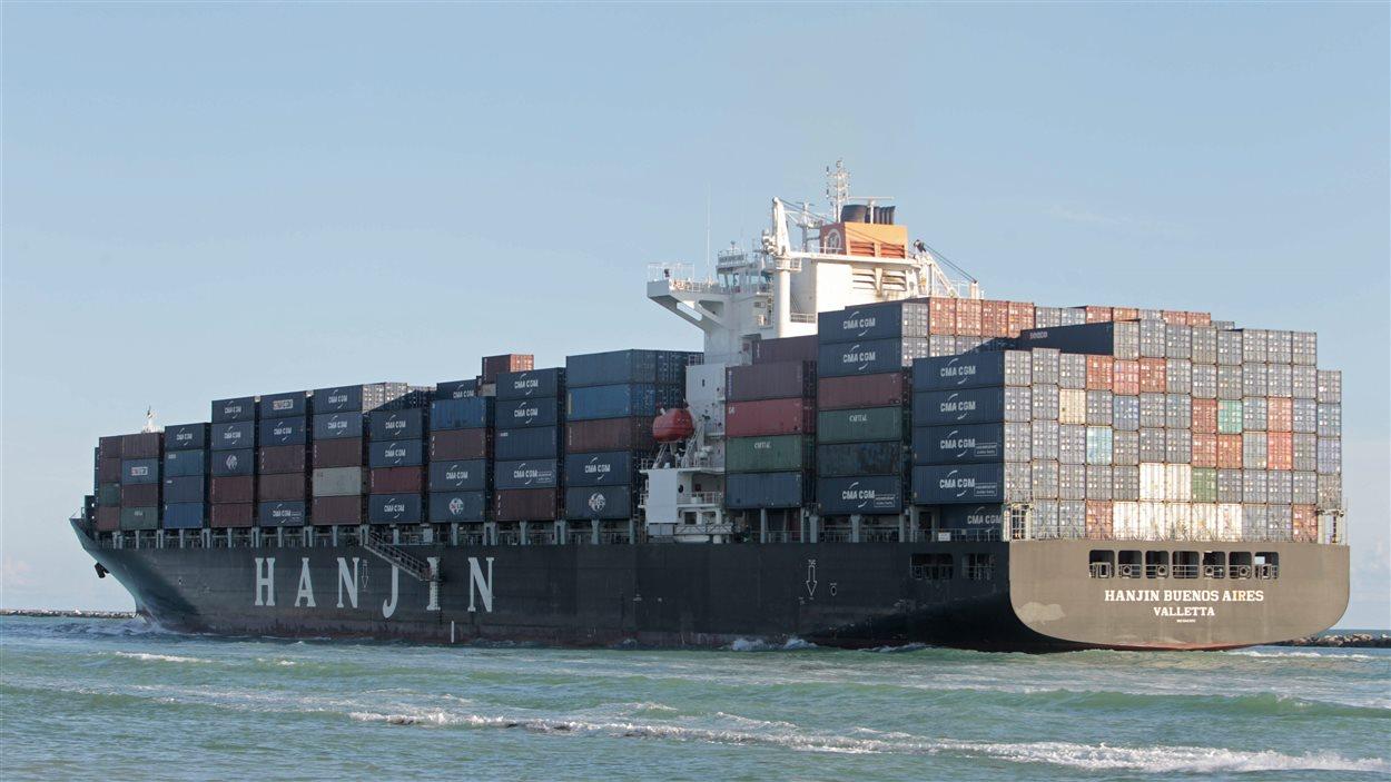 Un navire de la compagnie coréenne en faillite Hanjin.