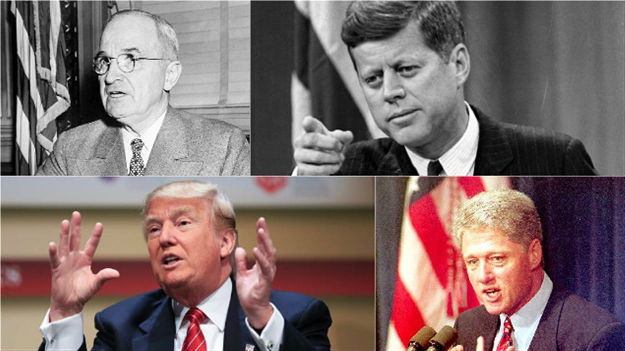 Les présidents Harry Truman, John F. Kennedy, Donald Trump, Bill Clinton
