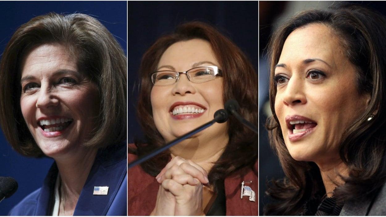 Les sénatrices élues Catherine Cortez Masto, Tammy Duckworth et Kamala Harris