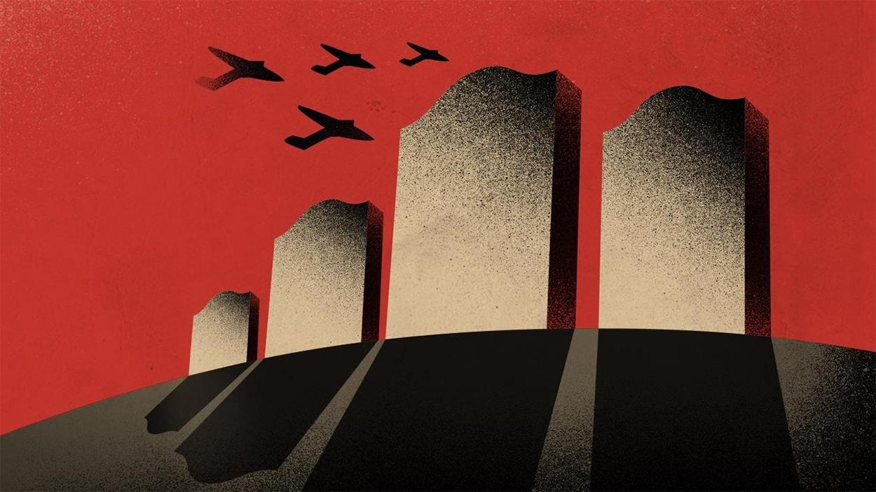 Détail de l'affiche du spectacle <i>Another Brick in the Wall</i>, produit par l'Opéra de Montréal.