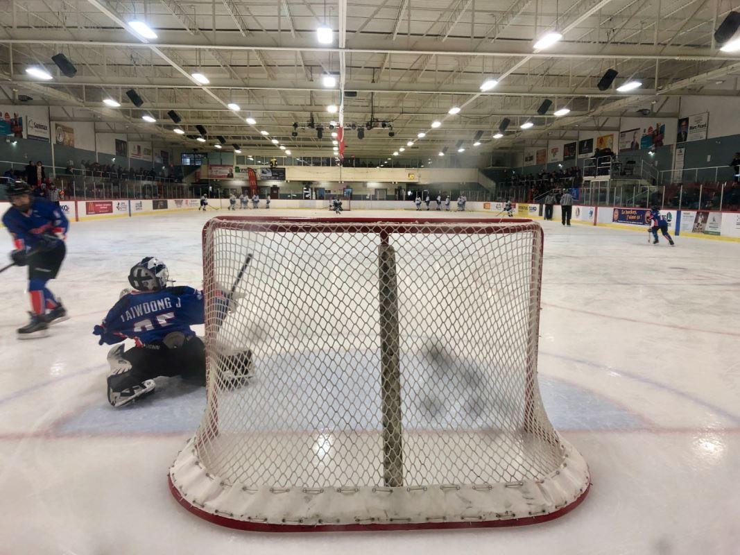 Gardien de but de hockey en action devant son filet.