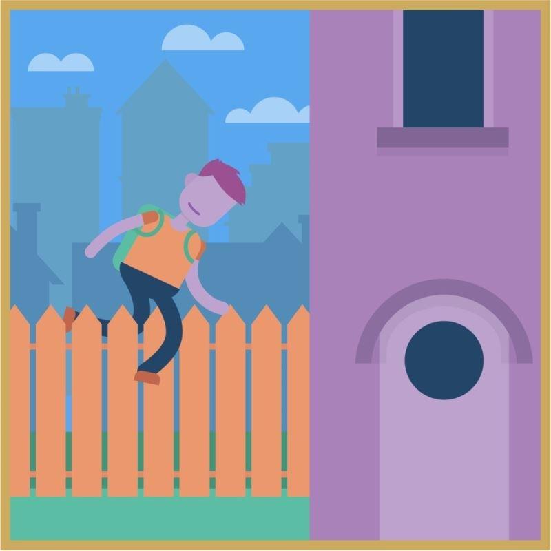 Illustration d'un jeune homme en train de sauter par dessus une clôture.