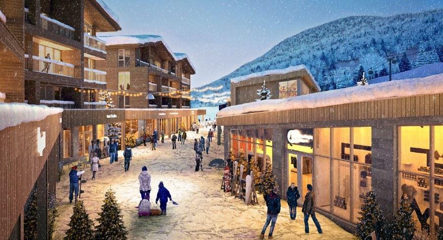 Concept de boutiques au Camp de base du Massif de Charlevoix, l'hiver.