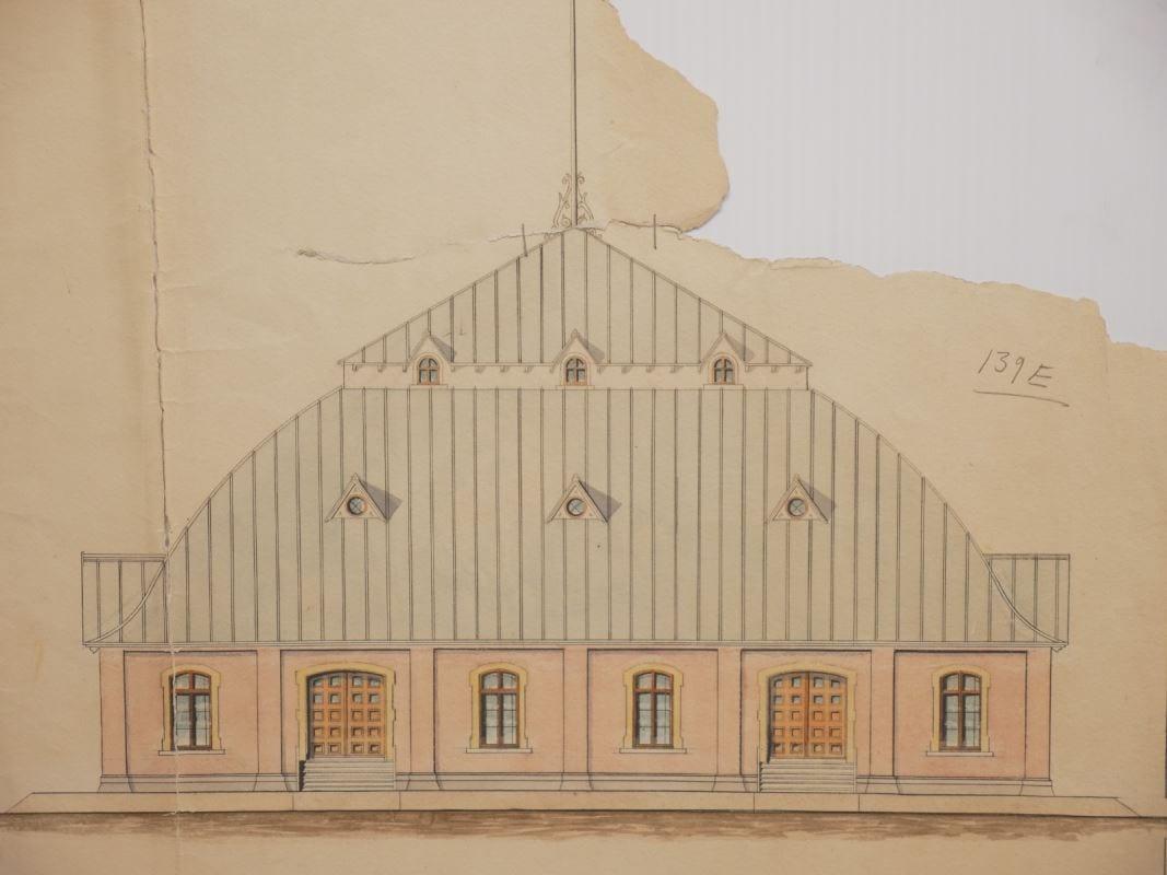Plan de l'arrière du bâtiment, en couleurs