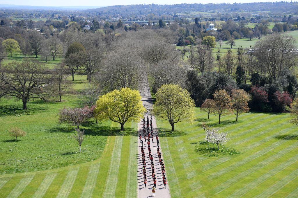 Vue des hauteurs d'un chemin entouré d'arbres où défilent des personnes.
