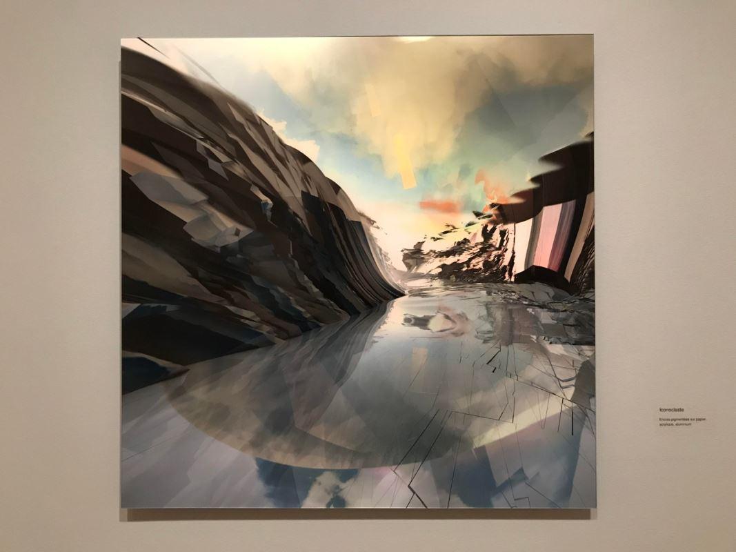 Une oeuvre abstraite, qui semble représenter des glaciers.