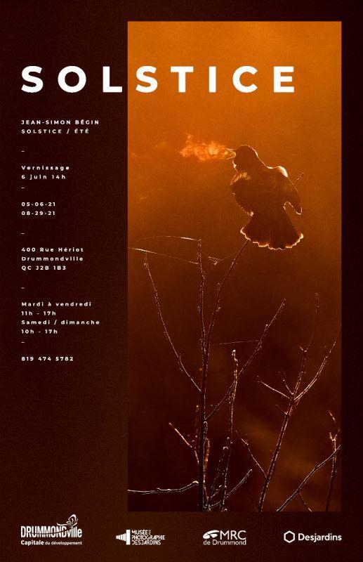 Une affiche montrant un oiseau et le nom « Solstice », par Jean-Simon Bégin.