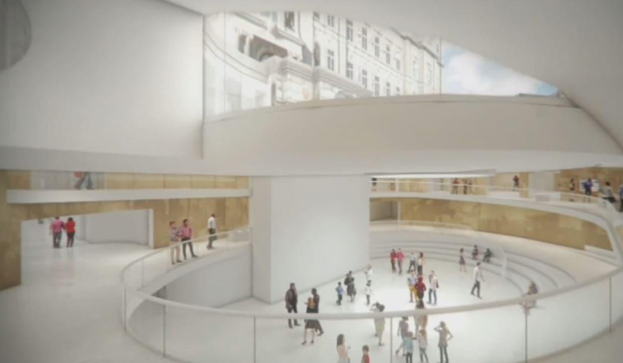 Illustration de l'agora du futur pavillon d'accueil