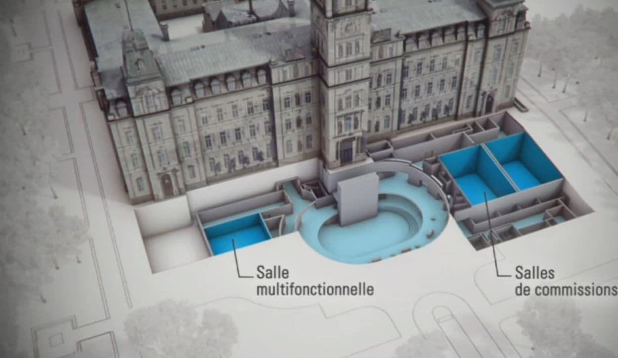 Illustration de la salle multifonctionnelle et des deux salles de commissions parlementaires du futur pavillon d'accueil