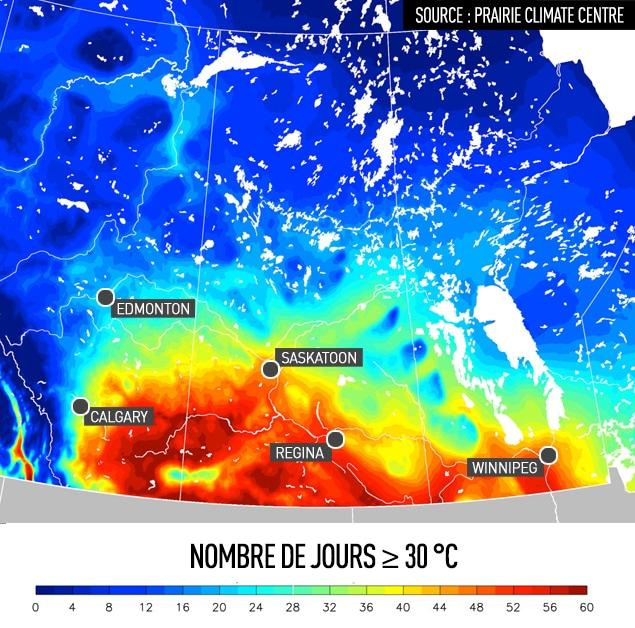 Nombre de jours [symbole plus grand que ou égal à] 30 °C. Source : Prairie Climate Centre